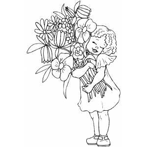 Girl with big flowers boucket coloring sheet for Big girl coloring pages