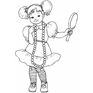 Girl With Pearl Looking At Mirror Coloring Sheet
