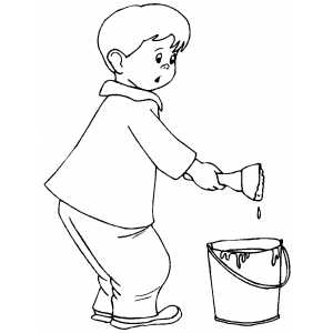 Little Boy Painting Coloring Sheet