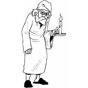 Scrooge with candle coloring sheet for Christmas carol coloring pages