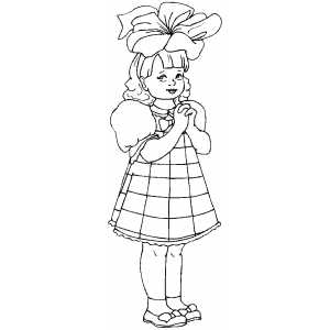 Girl With Nice Big Bow Coloring Sheet