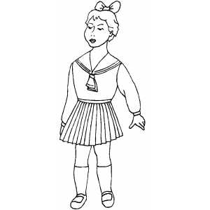 Standing Girl With Bow Coloring Sheet