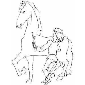 Man With Stone Horse Coloring Sheet