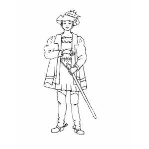 Nobleman With Sword Coloring Sheet