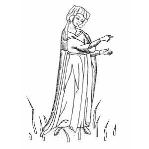 Pointing Noblewoman Coloring Sheet