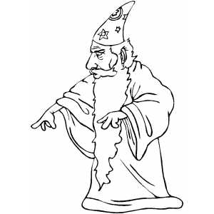 Pointing Wizard Coloring Sheet