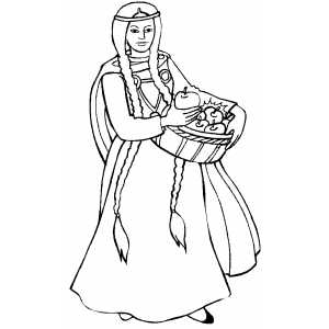 Woman With Basket Of Apples Coloring Sheet