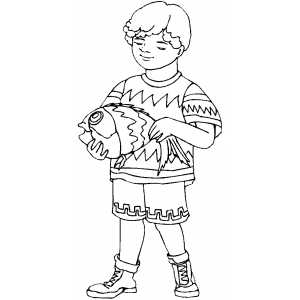 Boy With Fish Coloring Sheet