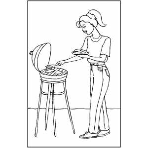 Woman Making Barbeque Coloring Sheet