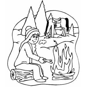 Campfire On Forest Coloring Sheet