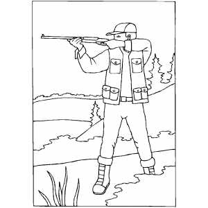Hunter shooting coloring sheet for Hunter coloring pages