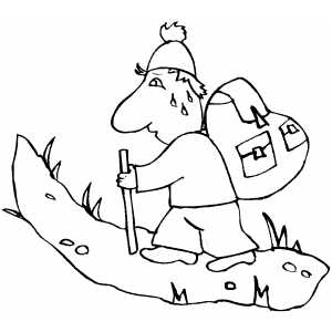 Tired Backpacker With Stick Coloring Sheet