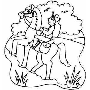 Walking Horse With Rider Coloring Sheet