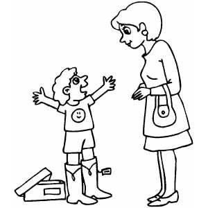 Boy In Boots Coloring Sheet