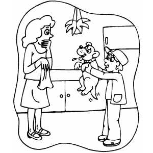 Boy Show Puppy To Surprised Mom Coloring Sheet