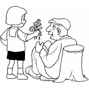 Girl Giving Flowers To Old Man Coloring Sheet