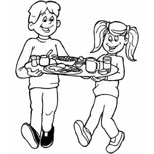 Kids With Breakfast Tray Coloring Sheet