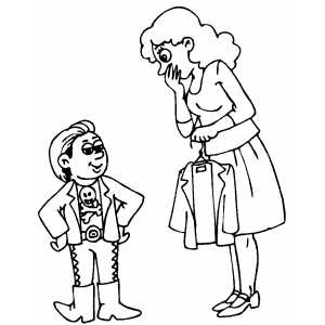 Mother Scared By Her Son Shopping Coloring Sheet