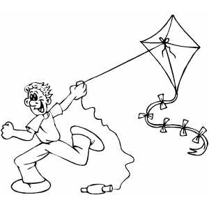 Flying A Kite Coloring Sheet