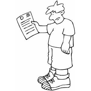 Boy With Results Paper Coloring Sheet