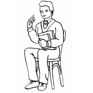Teacher Sitting On Chair Coloring Sheet