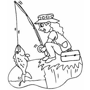 fishing on cliff coloring sheet